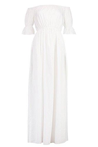 blanc Femmes Loren Robe Maxi À Épaules Dénudées Et Manches Volantées Blanc