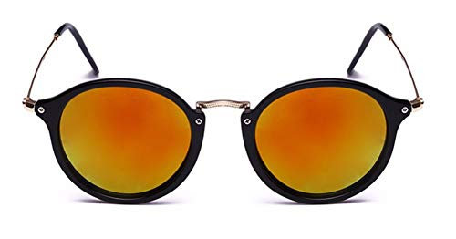 WSKPE Sonnenbrille Runde Sonnenbrille Sonnenbrille Frauen Männer Schattierungen Schildkröte Frame Sonnenbrille Orange Linse