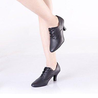 Silence @ pour femme Chaussures de danse latine/danse des chaussures en cuir Talon cubain Noir noir