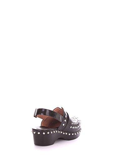 Zoccolo Twin-set in pelle spazzolata nera con borchie Nero