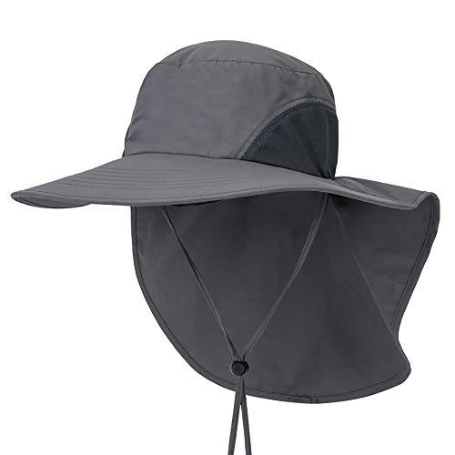 Outdoor Angeln Hut mit Neck Flap Cover breiter Krempe Sun Cap für Männer Frauen Jagd, Wandern, Camping, Bootfahren,Darkgray -