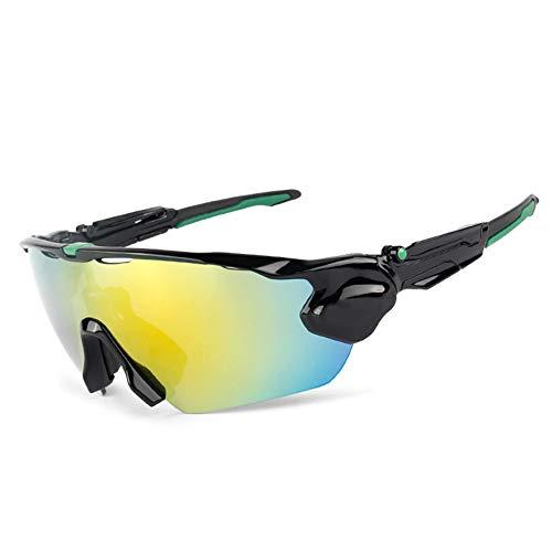 CIHART Fahrradbrille Polarisierte Sonnenbrille Sport Leichte Frame Level 3 Anpassung Kurzsichtigkeit Anpassung,Black-Green -