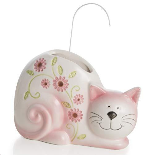Umidificatore a Forma di Gatto in Ceramica 18X4X13 cm Rosa