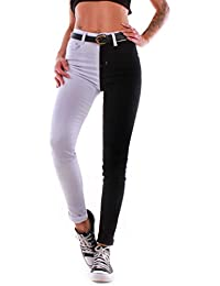 82a44d8e1fcd75 Black Denim Damen Super Stretch BAUCHWEG Jeans Röhrenjeans High Waist Hose  Hochschnitt Röhre Slim…