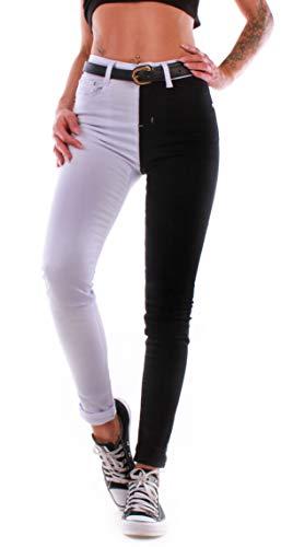 Black Denim Damen Jeans Röhrenjeans High Waist Stretch Hose Skinny Schwarz/Weiß A9015 (44/XXL) (Skinny Black Jeans Denim)
