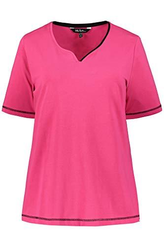 Ulla Popken Damen große Größen bis 64, Shirt, Basic, zweifarbiger Herzausschnitt, Nähte in Kontrastfarbe, Halbarm, Fuchsia 66/68 721028 58-66+