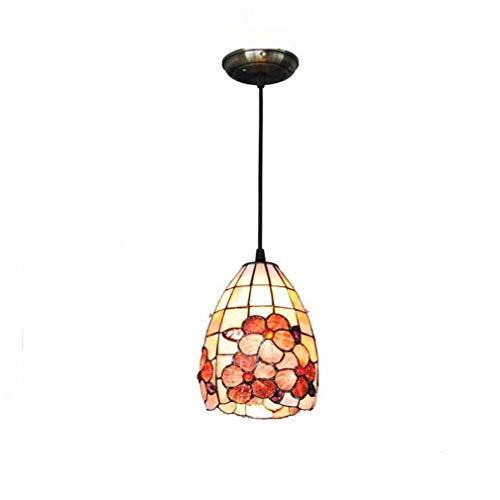 Jakobsmuscheln Glas Lampe (Tiffany Style Mini Pendelleuchte, 5-Zoll Natural Shell Material Bunte Jakobsmuschel Muster Pendelleuchte Schatten Single Head 1-Light Leuchten Decke)