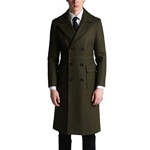 MERRYHE Mens Wolle Großen Mantel Lange Zweireihig Trenchcoats Winter Warme Mantel Schwarz Grau Grün Outwear Militärjacken,Green-L(Bust/108cm)