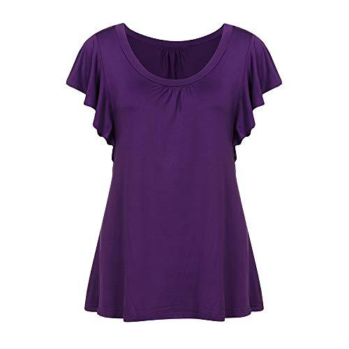 MRULIC 2018 Damen Rundhals Geripptes Sleeve Casual Falten Kurzarm T-Shirt mit Stretch Tunika Top(Lila,EU-48/CN-3XL)