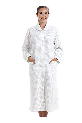 Robe de Chambre pour Femme - Motif à Pois - Blanc/Bleu 38/40
