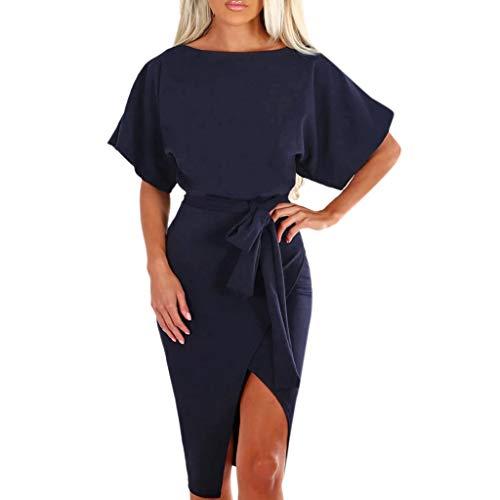 KUKICAT Damen Langarm Abendkleider Kleider Herbst Elegant Casual Daily Kurzarm Strand Split Lange Maxi-Kleid