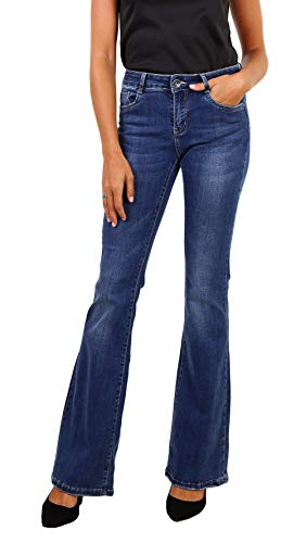 NEWPLAY Damen Bootcut Jeanshose Stretch Denim blau Schlaghosen größe 40 Stretch-kick Flare Jeans
