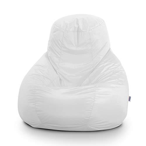 Avalon Pouf Poltrona Sacco Gigante BAG XXL Jive 100x100x110cm Made in Italy  in tessuto antistrappo imbottito colore Bianco