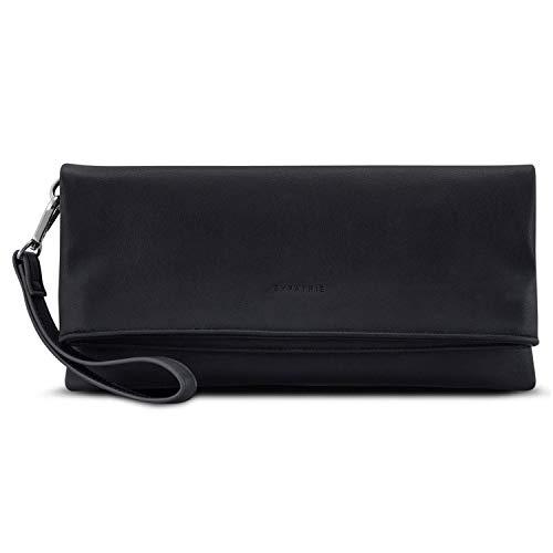 Clutch Schwarz - Expatrié Marie Damen Handtasche aus Veganem Leder - PU Ledertasche Abendtasche Umhängetasche Tasche Schultertasche - Elegante Clutch & Schultertasche in Einem - Vegan Leder Clutch