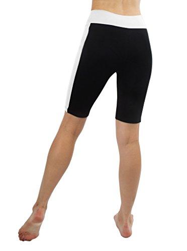 iLoveSIA® Shorts de sport Femme 1/2 Noir+Blanc