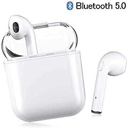 Kata Auricolare Bluetooth I8X, Bluetooth 5.0 Cuffia Wireless, Auricolari in-Ear, Cuffia Stereo 3D, Cuffia di Ricarica Portatile Integrata, con Scatola di Ricarica