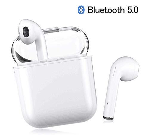 Bluetooth Kopfhörer V5.0 kopfhörer kabellos in Ear Headset Stereo-Minikopfhörer Sport Wasserdicht mit Ladekästchen und Integriertem Mikrofon für Apple/Android/iPhone(Weiß) (Apple-ipod-bluetooth Player)