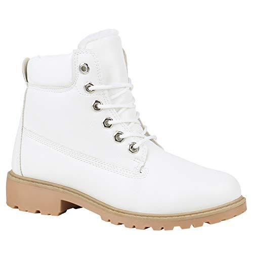 Stiefelparadies Worker Boots Warm Gefütterte Damen Herren Stiefeletten Knöchelhohe Stiefel Zipper Kunstfell Outdoor Schuhe 132195 Weiß Creme 37 Flandell