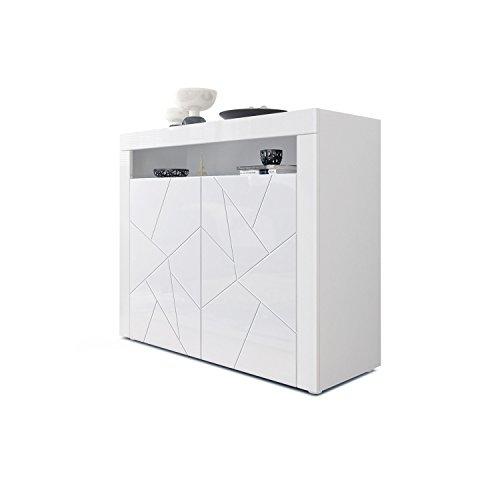 Kommode Sideboard Valencia, Korpus in Weiß Matt/Fronten in Weiß Hochglanz Element mit 3D Struktur und Blenden in Weiß Hochglanz