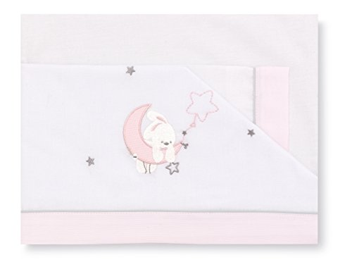 Pirulos 00113114 - Sábanas, diseño luna, 50 x 80 cm, color blanco y rosa