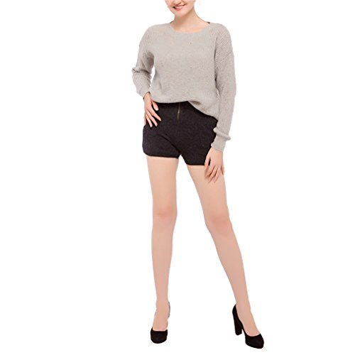 Honghu Femme Casual Manche Longues Halter Pull Crew Neck Cou Rond Sweater Gris