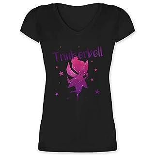 Karneval & Fasching - Trinkerbell - XS - Schwarz - XO1525 - Damen T-Shirt mit V-Ausschnitt