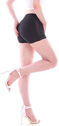 Damen Hotpants Jeans High Waist Jeans Shorts Kurze Hose Hochschnitt Taillenhose Schwarz