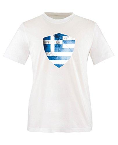 Comedy Shirts - Griechenland Trikot - Wappen: Groß - Wunsch - Kinder T-Shirt - Weiss/Blau Gr. 134-146