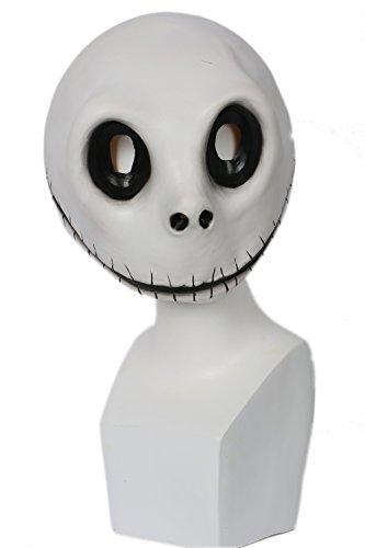 Jack Für Kostüm Erwachsenen Skellington - Halloween Maske Weiß Latex Vollkopf Helm Anime Manga Cosplay Kostüm Zubehör für Erwachsene Kleidung Kostüme Merchandise