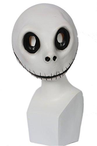 Kostüm Before Nightmare Jack Christmas Skellington - Halloween Maske Weiß Latex Vollkopf Helm Anime Manga Cosplay Kostüm Zubehör für Erwachsene Kleidung Kostüme Merchandise
