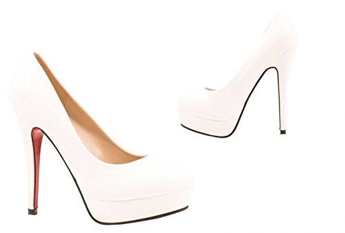 Elara Plateau Pumps   Moderne Damen High Heels   Stiletto Schuhe Weiss Paris
