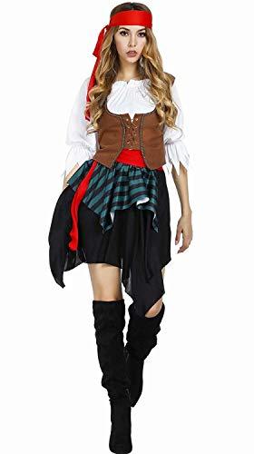 Piratin Kostüm mit Halstuch Piratinkostüm Damen Piraten Kostüm Pirat Größe Halloween Cosplay XL