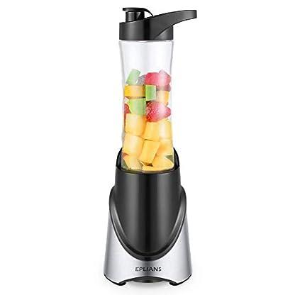 Smoothie-Maker-EPLIANS-Mini-Blender-Mini-Standmixer-mit-600ml-Reise-Sportflasche-BPA-freie-Tritan-Trinkflasche-300W-Schwarz-Silber