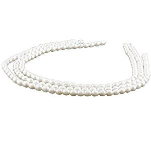 3x Zuchtperlen Stränge – oval, 6×7 mm, weiß/7118g