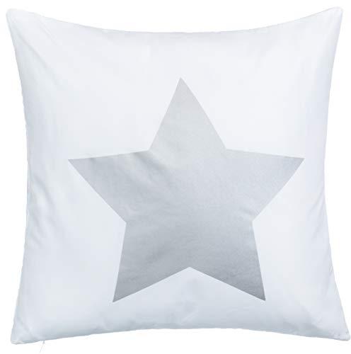 Brand sseller de cojín sofá cojín diseño Cojín Estrella Impresión-con Relleno Agradable y Suave, 100% poliéster, Blanco y Plateado, 40 x 40 cm