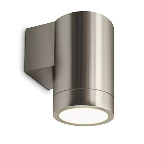 LED Wandleuchte Wandlampe Außenleuchte Up/Down 1-Flammig Edelstahl Form:F IP44 GU10-230V Inkl. LED-Leuchtmittel (Warmweiß)