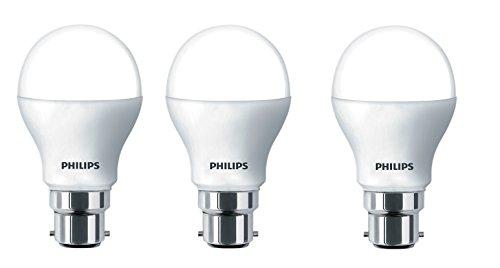 Philips Base B22 7-Watt LED Bulb (Pack of 3, Cool Day Light)