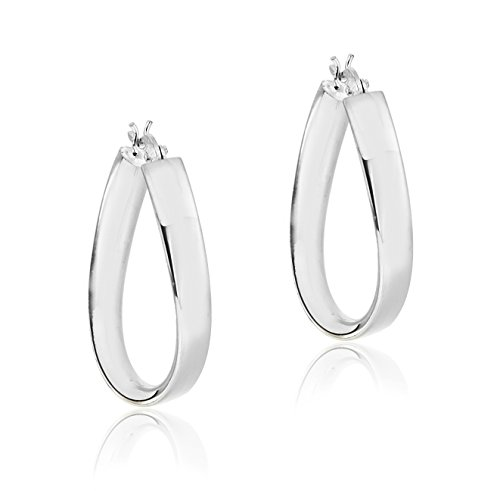 Tuscany Silver Sterling Silver Oval Creole Earrings kuoHK4lfT