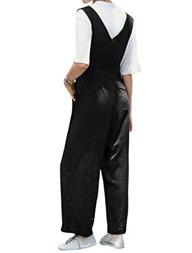 sourcingmap Femme Col V Boutons Côtés Jambes Larges Jarretelle Pantalon Noir