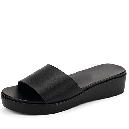 Pantofole di modo di estate portano i pantofole del dispositivo di raffreddamento del cuoio Pantofole piane della spiaggia femminile (2 colori opzionali) (formato facoltativo) ( Colore : A , dimension B