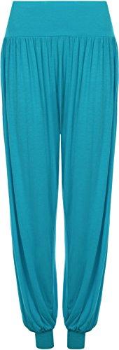 Da Donna Taglie Forti Pantaloni Harem Donna Lunghezza Piena Elasticizzato Pantaloni Casual Formati 12 - 26 Turchese