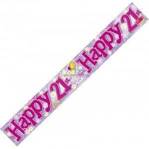 Happy 21st Birthday Party Wall Banner 3 Lilac Banners Age 21 Party