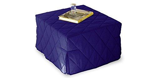 Pouff allegro trasformabile in letto singolo, rivestimento trapuntato blu