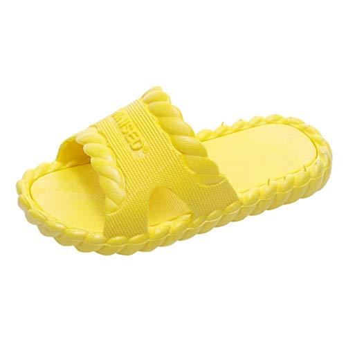 Dorical Badelatschen Kinder Unisex Badeschuhe Jungen Dusch-& Badeschuhe Badelatschen Mädchen Rutschfeste Badeschlappen Weich Pantoletten Hausschuhe Sommer Strand Sandale Slipper(Gelb,27 EU)