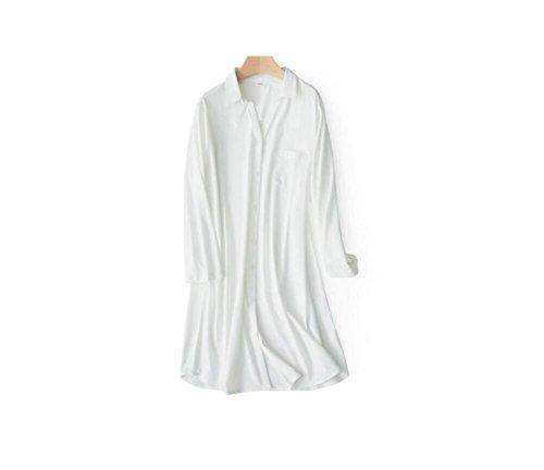 GSHGA Frauen Chemise Baumwolle Stricke Langer Ärmel Startseite Lange Ärmel Kleid Open Kleid Rock Frühling Und (Kostüme Kitty White)