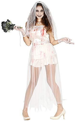 Geist Tot Corpse Bride Halloween Kostüm Kleid Outfit - Weiß, UK 10-12 ()