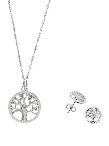 Córdoba Jewels   Conjunto de gargantilla y pendientes en Plata de Ley 925. Diseño Gran Árbol de la Vida