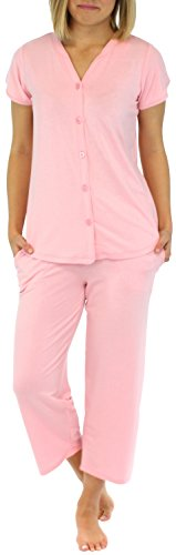 PajamaMania Ensemble de pyjama femme manches courtes à boutons vêtement de nuit Rose Céleste