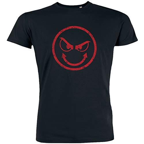Redshirt Herren T-Shirt, Evil Smiley, Bio-Baumwolle, Fair gehandelt (XXXL, Schwarz)