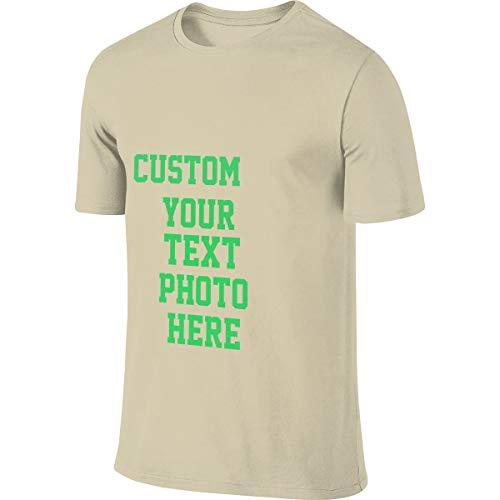 100% Baumwolle Herren T-Shirt Sommer Kurzarm T-Shirt - Anpassbares doppelseitiges T-Shirt(Natural S) -